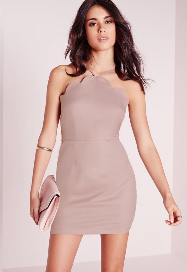 Petite Exclusive Scallop Bodycon Dress Mauve