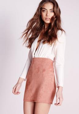 Mini-jupe en faux daim rosé Petite