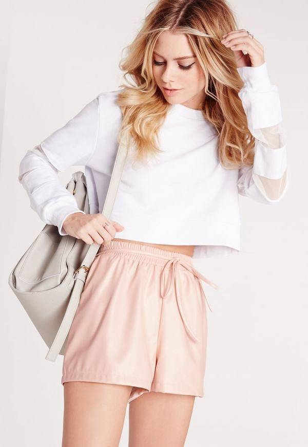 Petite Elasticated Waist Faux Leather Shorts Blush
