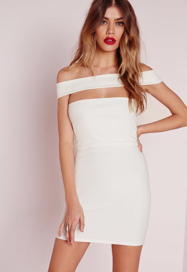 Petite Cut Out Panel Bardot Bodycon Dress White