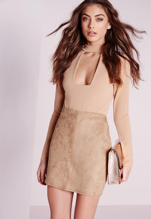 Petite Bonded Faux Suede Mini Skirt Camel