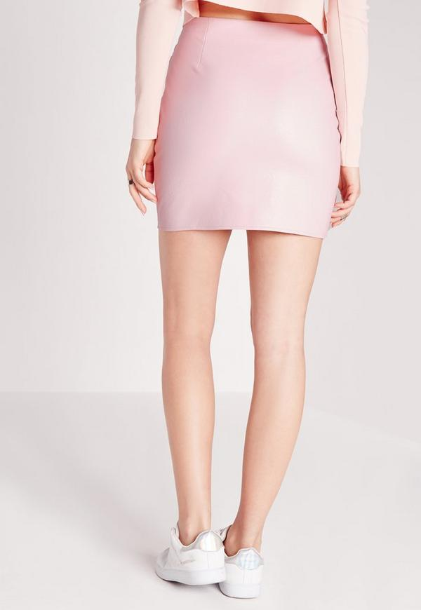 Petite Exclusive Faux Leather Biker Mini Skirt Baby Pink