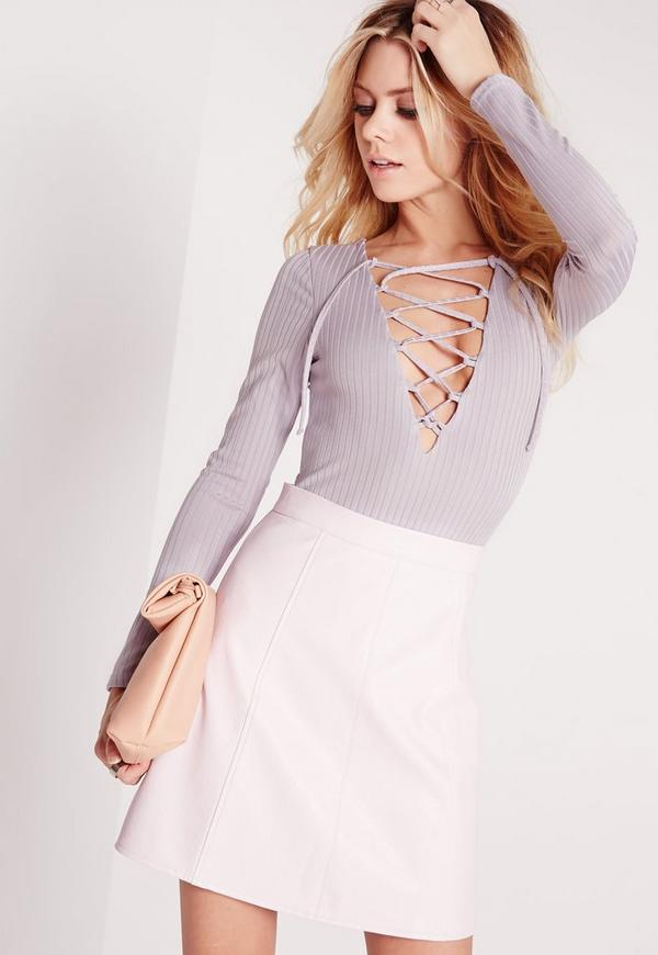 Petite Exclusive Lace Up Bodysuit Grey