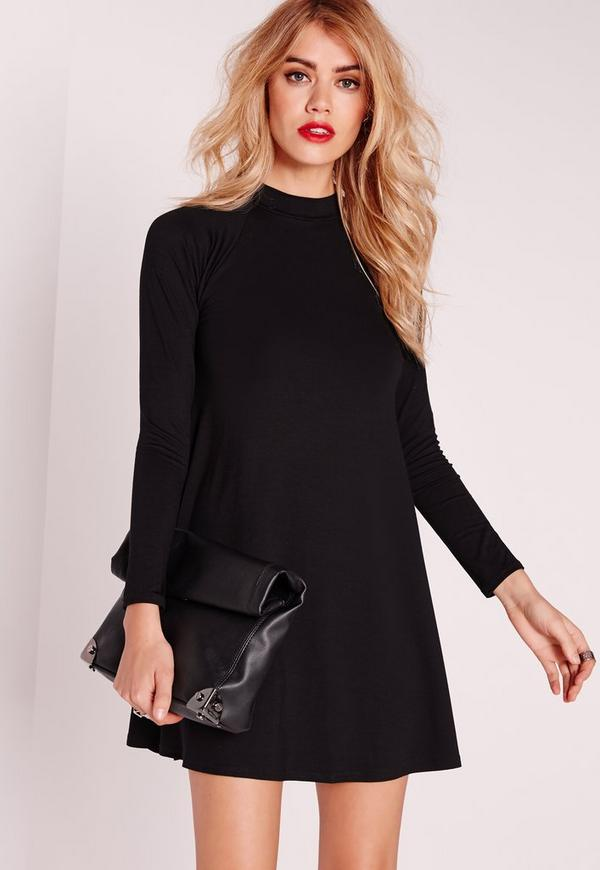 Petite Roll Neck Long Sleeve Jersey Swing Dress Black
