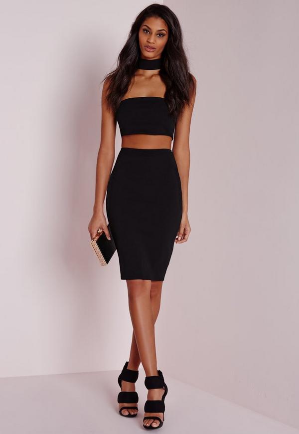 Petite Choker Midi Dress Black Missguided