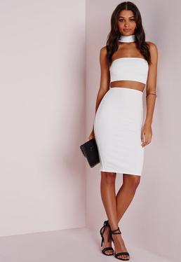 petite choker midi dress white