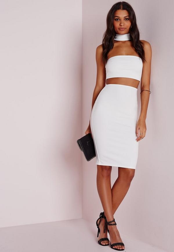 petite choker midi dress white
