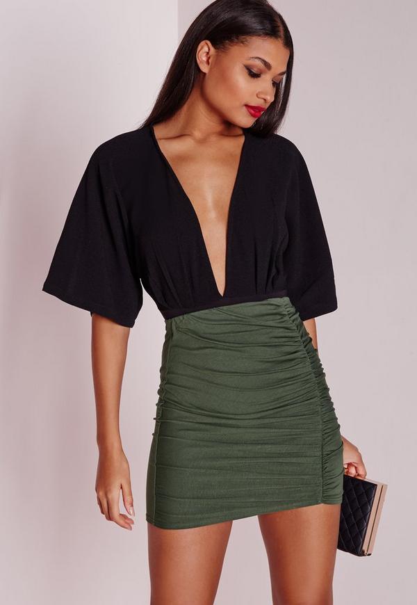 Petite Ruched Mini Skirt Khaki