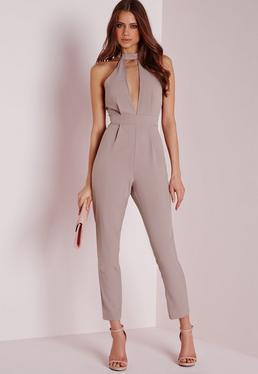 Petite Exclusive Neck Detail Jumpsuit Taupe