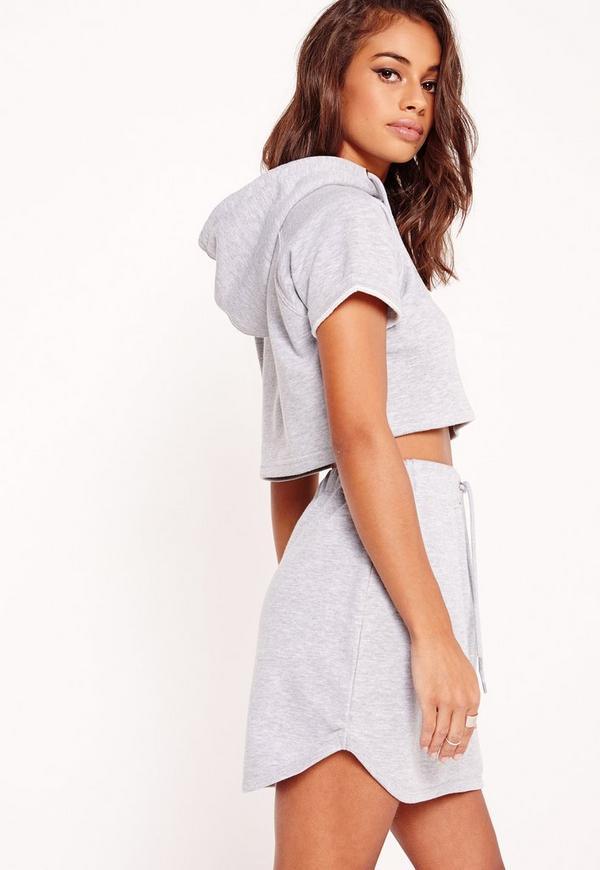 petite exclusive short sleeve crop sweatshirt grey