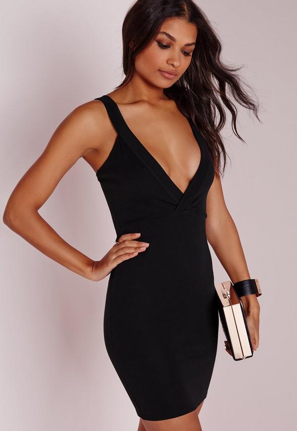 Petite Ponte Plunge Bodycon Dress Black
