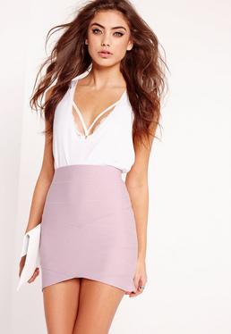 Petite Asymmetric Bandage Mini Skirt Lilac