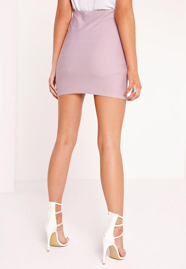 Petite Asymmetric Bandage Mini Skirt Lilac | Missguided