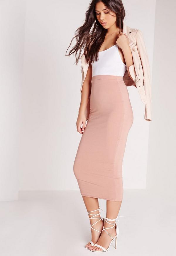 Petite Longline Jersey Midi Skirt Pink