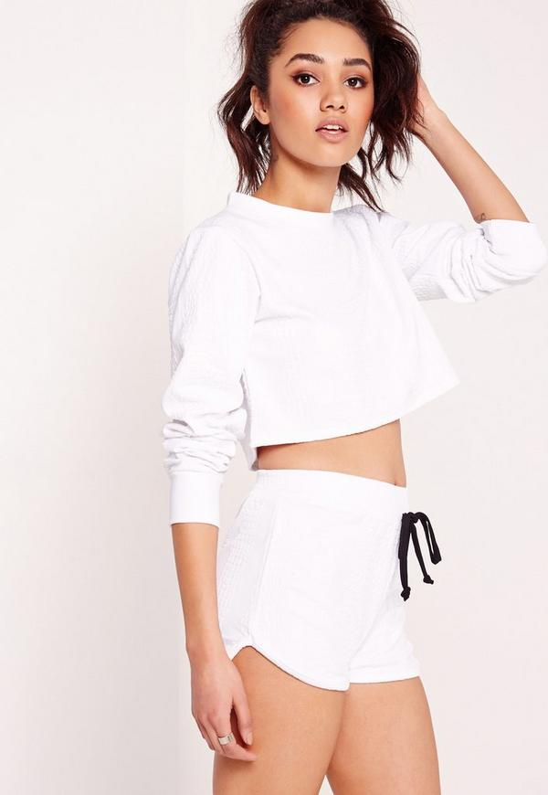 Petite Exclusive Textured Runner Shorts White