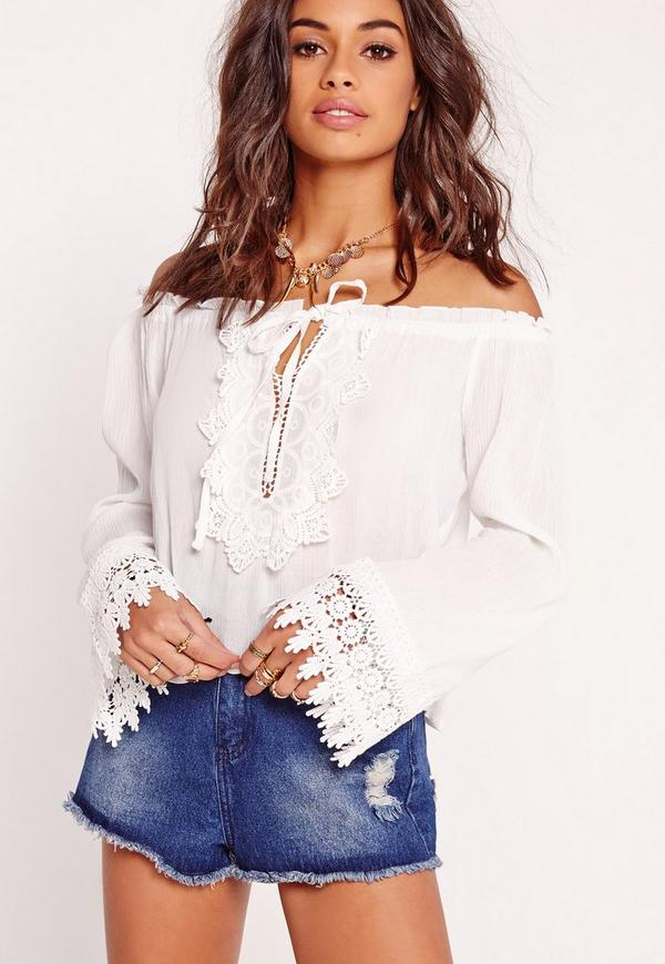Petite Exclusive Bardot Crochet Crop Top White