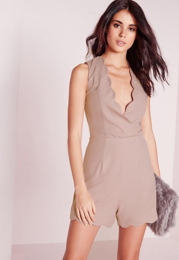 Petite Exclusive Scallop Playsuit taupe