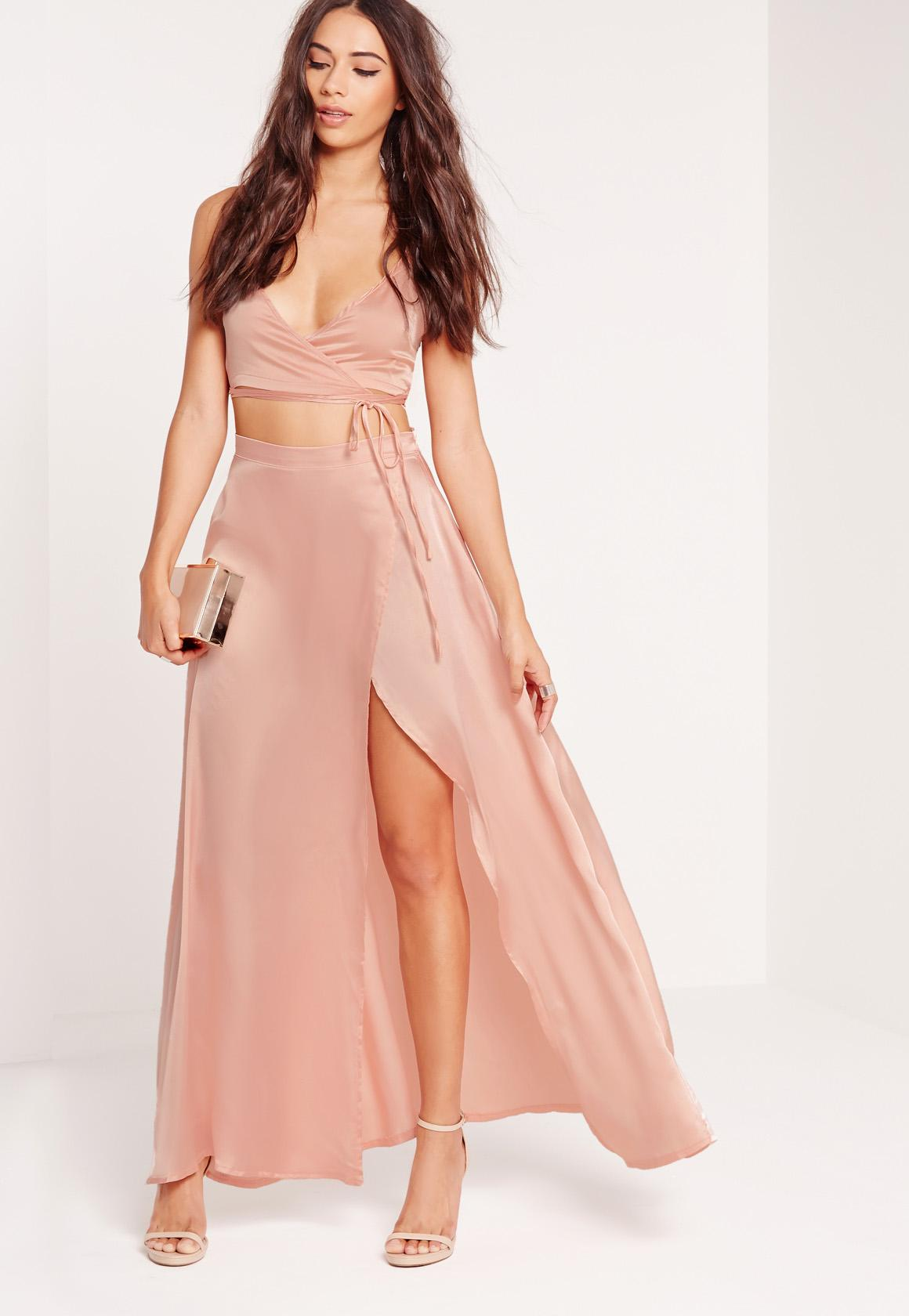 Petite Exclusive Satin Wrap Maxi Skirt Nude | Missguided