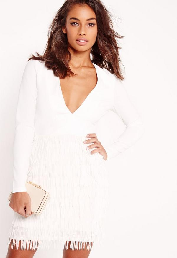 Petite Fringed Skirt Bodycon Dress White