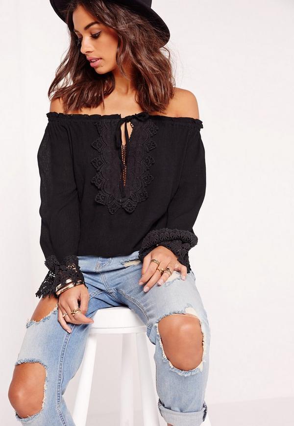 Petite Exclusive Bardot Crochet Crop Top Black