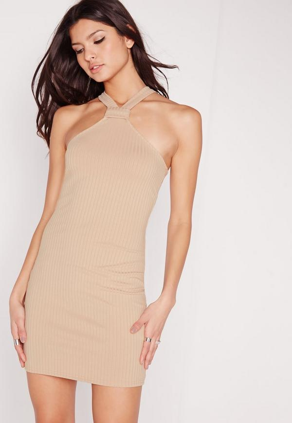 Petite Exclusive Neck Detail Rib Dress Camel