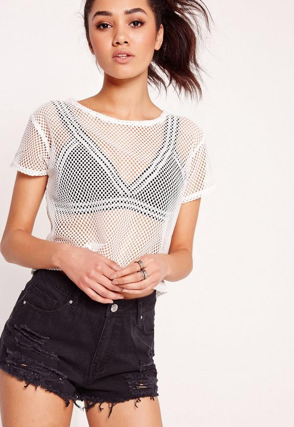 Petite Exclusive Airtex T Shirt White Missguided