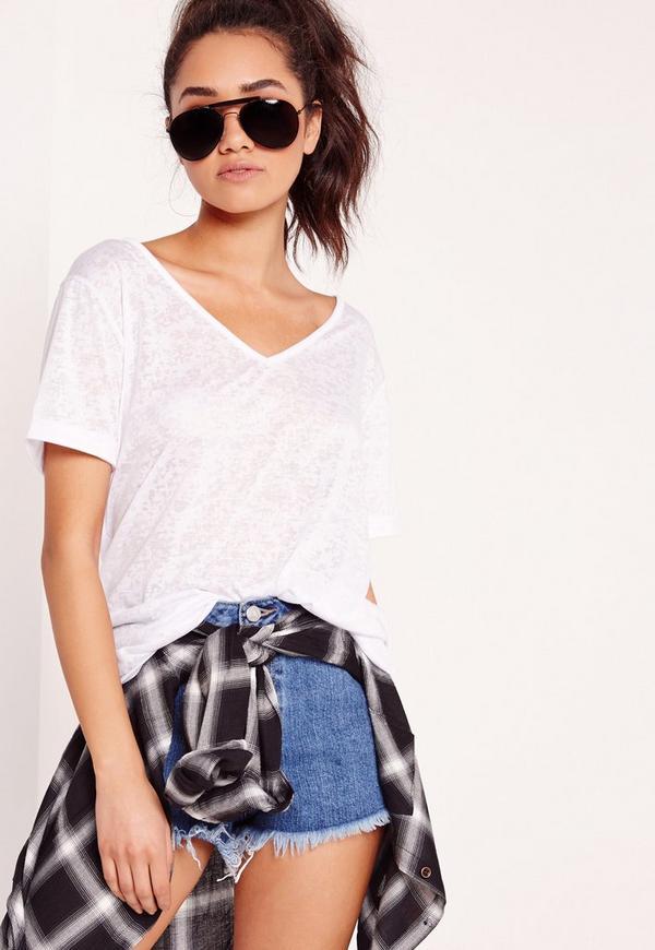 Petite Exclusive Burnout V Neck Boyfriend T-Shirt White
