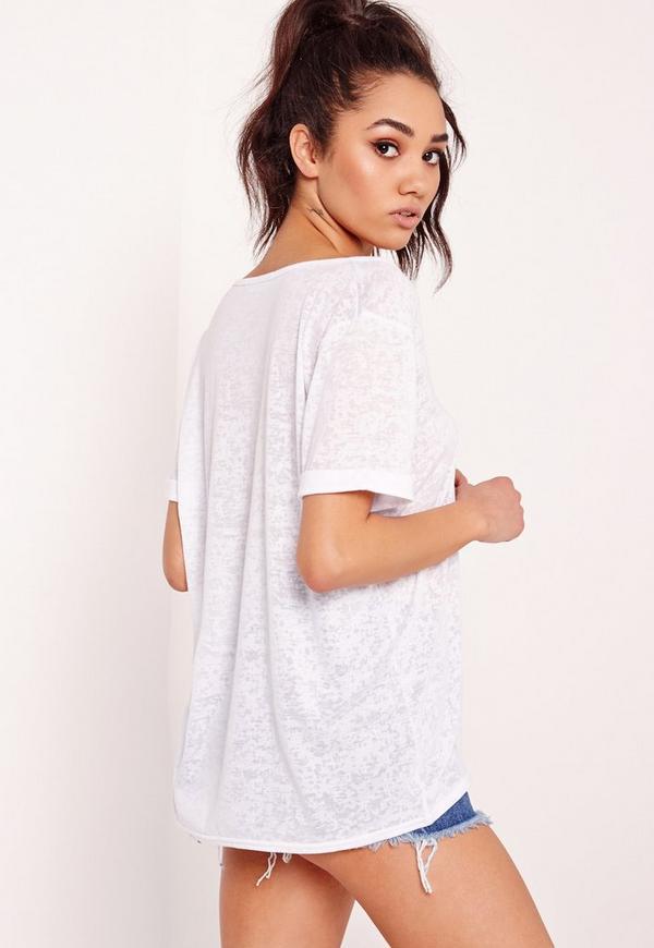 Petite exclusive burnout v neck boyfriend t shirt white for Petite white tee shirt