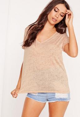 Petite Exclusive V-Neck Boyfriend Top Nude