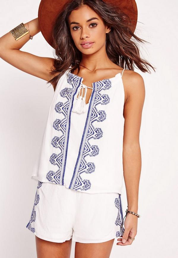 Petite Exclusive Embroidered Cami Top White