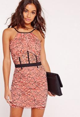 Petite Exclusive Lace Floral Mini Dress Pink