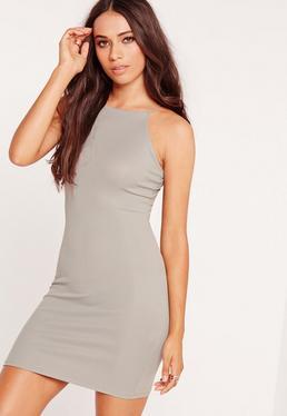Petite Exclusive Curve Hem Rib Mini Dress Grey Marl