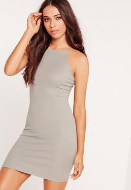 Petite Exclusive Curve Hem Rib Mini Dress Grey Marl