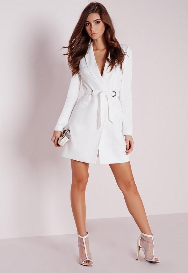 Petite D-Ring Blazer Dress White