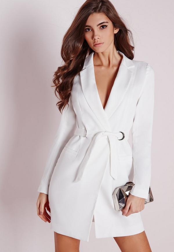 Petite D Ring Blazer Dress White Missguided