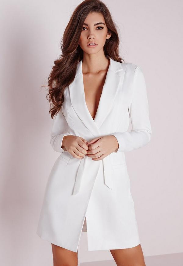 Petite D-Ring Blazer Dress White