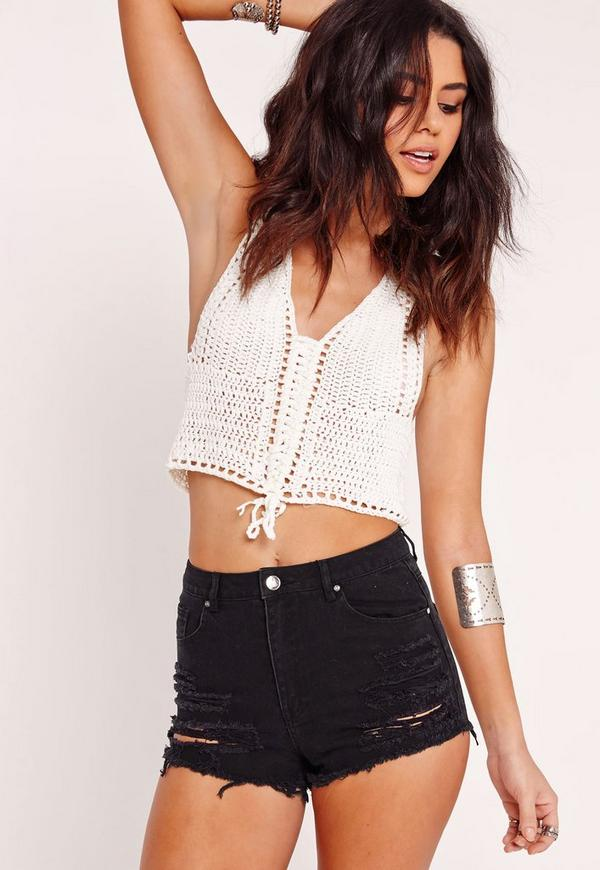 Petite High Waisted Ripped Denim Shorts Black | Missguided