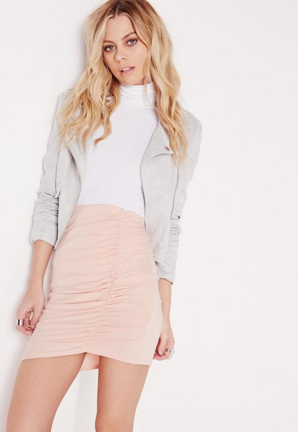 Petite Ruched Mini Skirt Nude