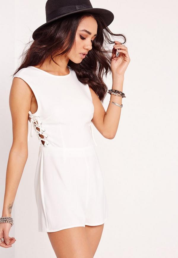 71b4b7cf90da Petite Exclusive Lace Up Playsuit White