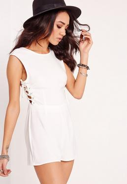 Petite Exclusive Lace Up Romper White