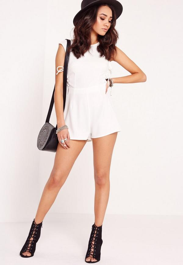 27c6a7502481 Petite Exclusive Lace Up Playsuit White. Was €38.00. Now €15.00 (61% off).  Previous Next