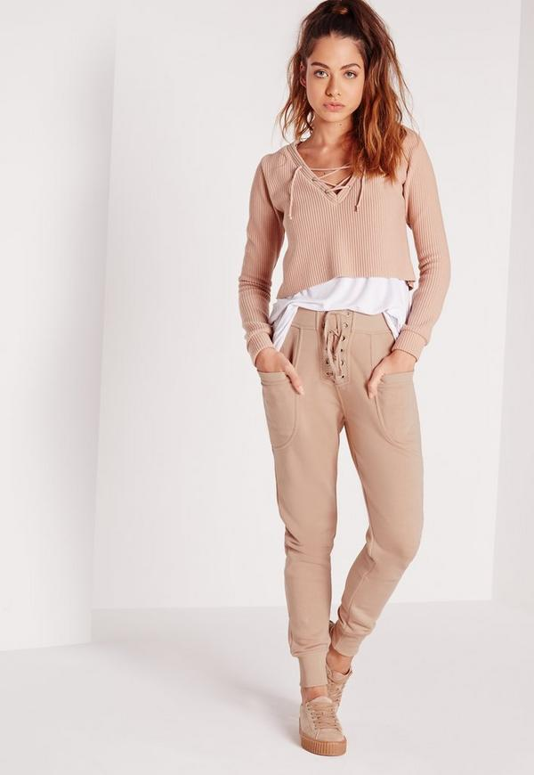 Petite Lace Up Front Joggers Camel