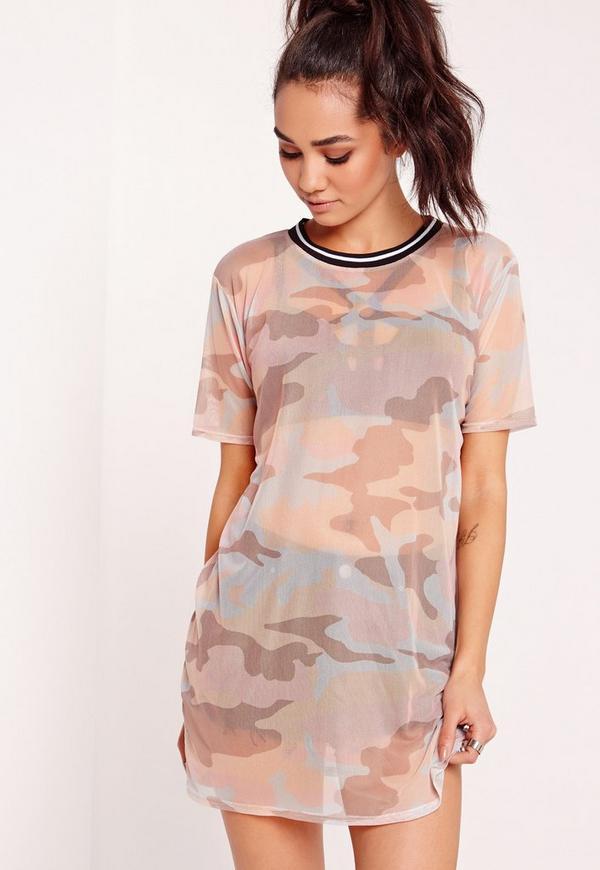 Petite Camo Mesh T-shirt Dress Multi