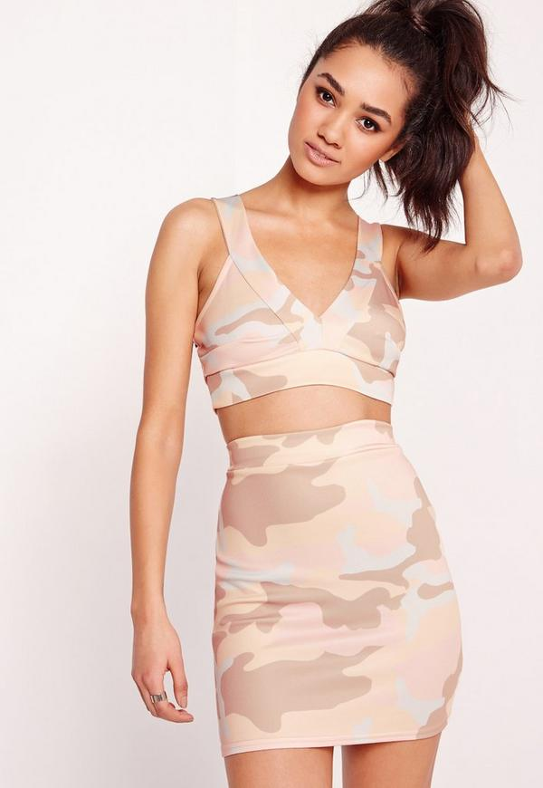Petite Exclusive Cropped Camo Bralet Multi