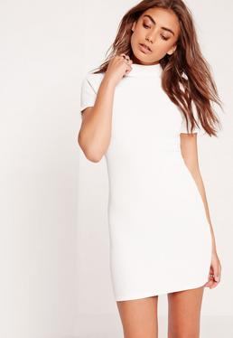 Petite Wrap Back Ribbed Bodycon Dress White