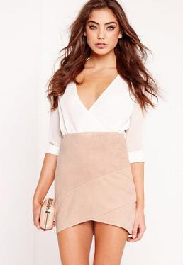 Petite Exclusive Faux Suede Wrap Mini Skirt Nude