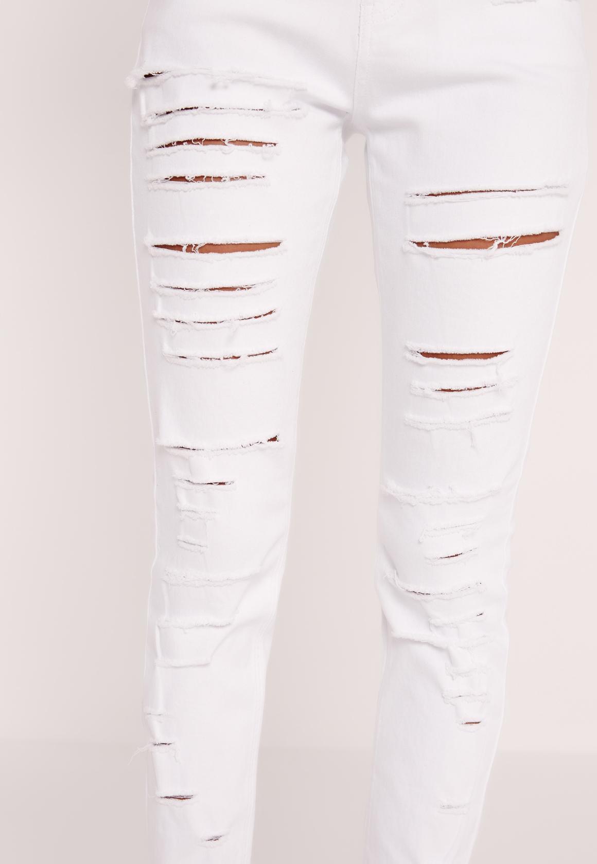 Petite Sinner High Waisted Multi Slash Jeans White