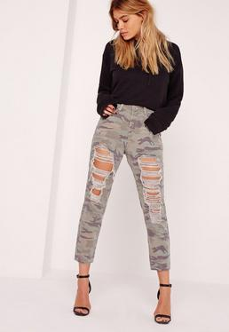 Petite Riot High Rise Ripped Camo Jeans Khaki