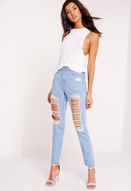 Petite Riot High Rise Ripped Jeans Stonewash Blue