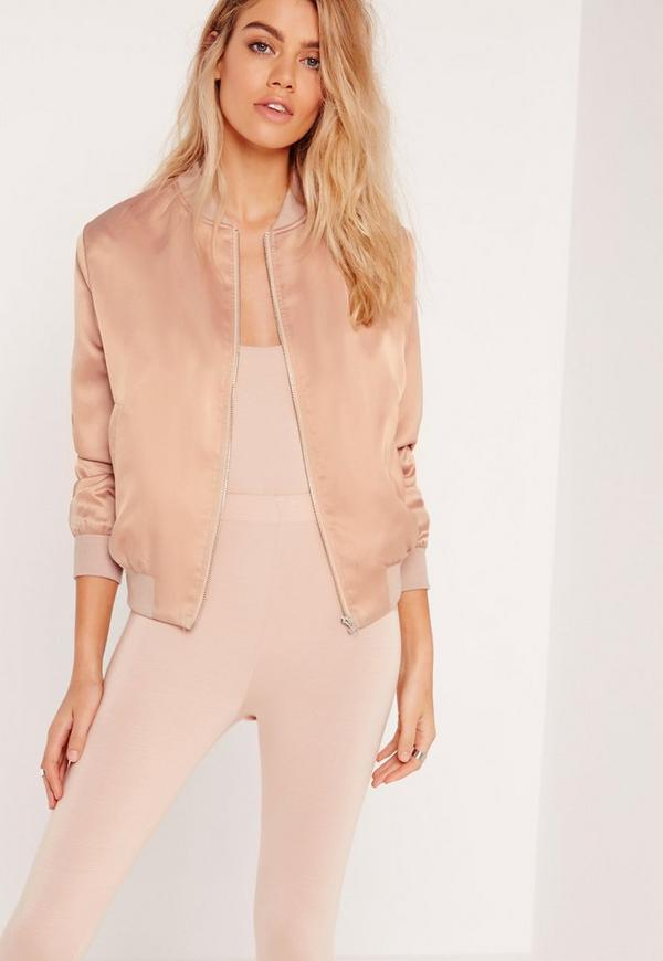 Petite Exclusive Satin Bomber Jacket Nude